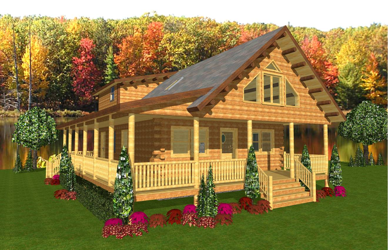 The cathance hilltop log timber homes for Hilltop house plans